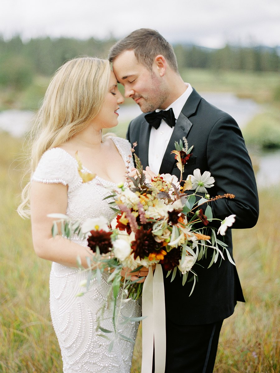 wedding couple at House on Metolius by Marina Koslow Photography