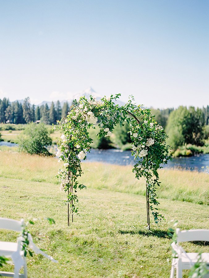 Wedding arbor at mountain wedding