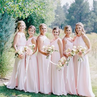 bridesmaids in blush pink dresses