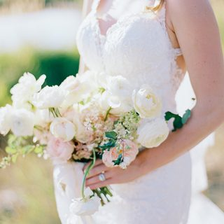 bridal bouquet of white and pink flowers
